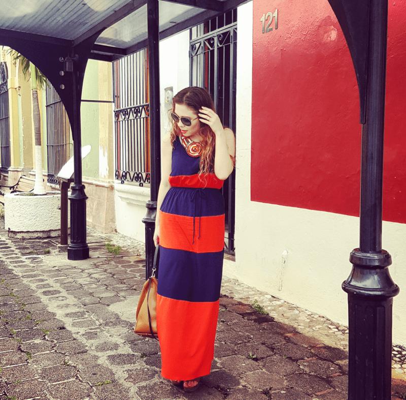 Maxidress a rayas colores azul marino y naranja
