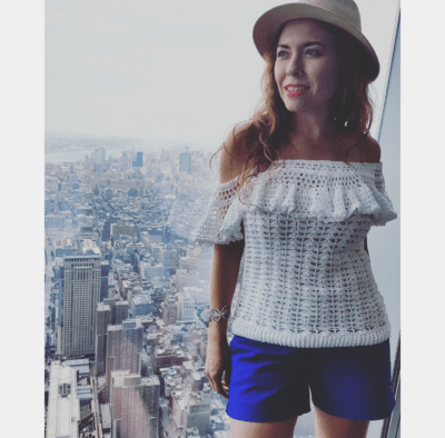 Crochet style, shorts from Banana Republic, One World New York