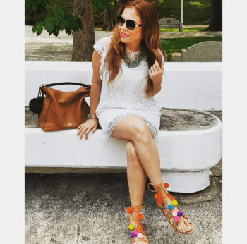 White lace tunic and handmade pompoms sandals
