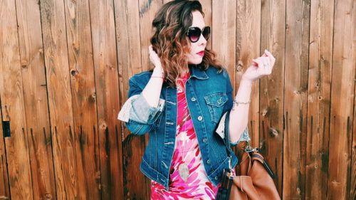Denim jacket in summer dress style