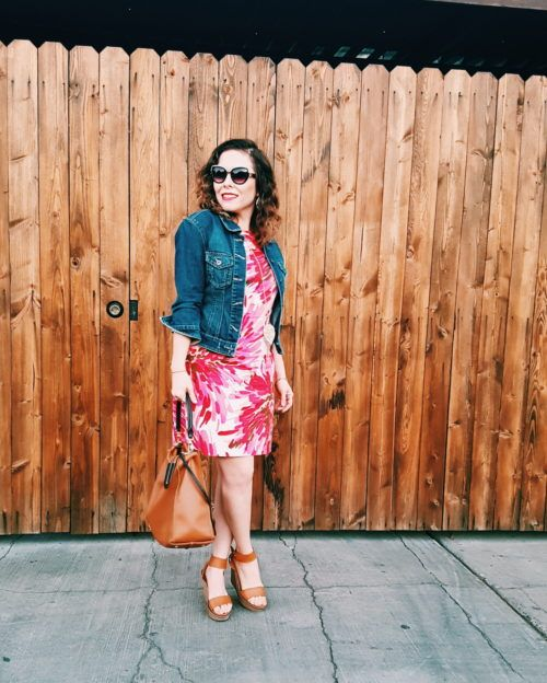 Denim jacket in summer dress style