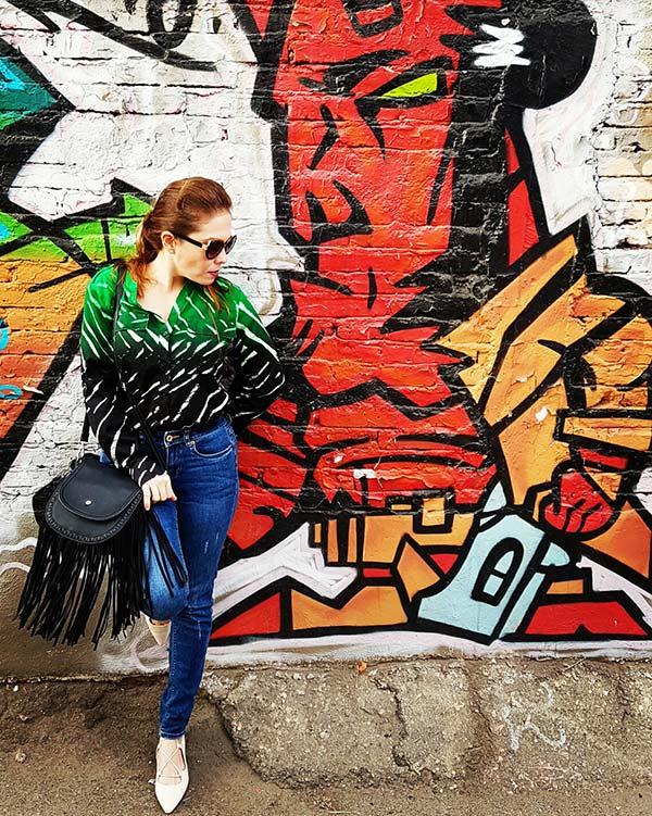 Street style, calvin klein green blouse, denim