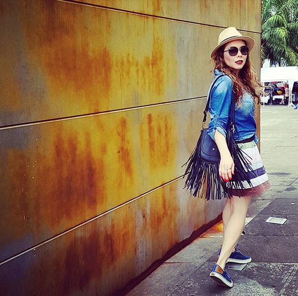 Denim Blouse and sneakers