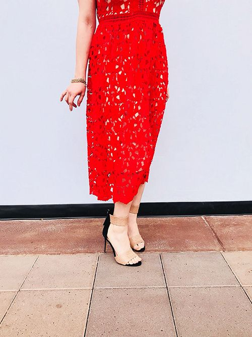 The Perfect Red Lace Dress Lovely Round Squares