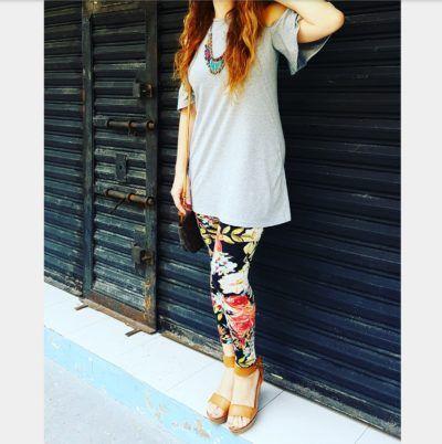 Off shoulder top-dress, floral leggins