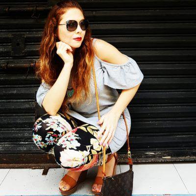 Outfit of the day: off shoulder top, floral leggins, camel wedges
