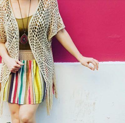 Crochet Kimono & stripes style
