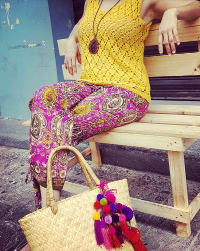 Crochet yellow top, Rhalp Lauren floral pants, Guess sandals & Handmade bag by mexican artesans