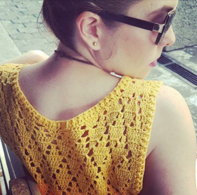 Crochet yellow top & Aldo sunglasses