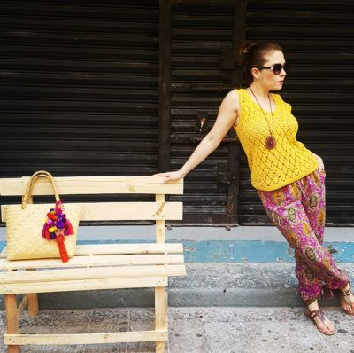 Crochet yellow top, Rhalp Lauren floral pants, Guess sandals