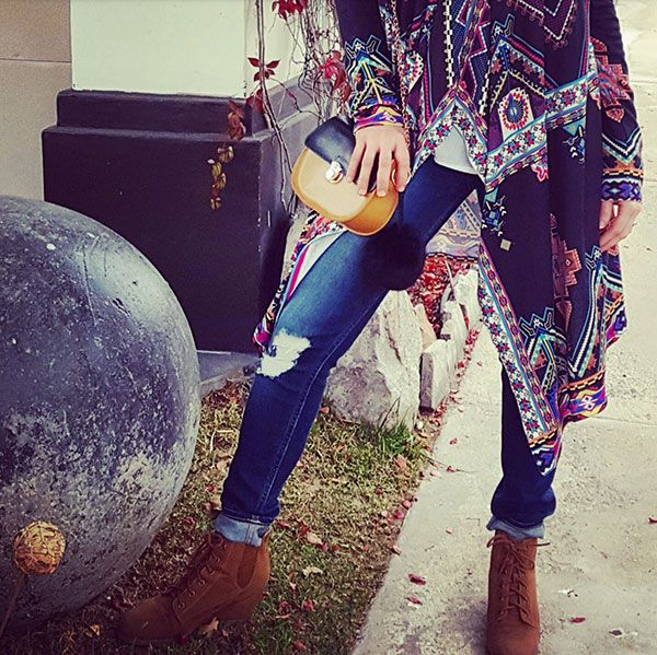 Tribal style, caftan and ankle boots